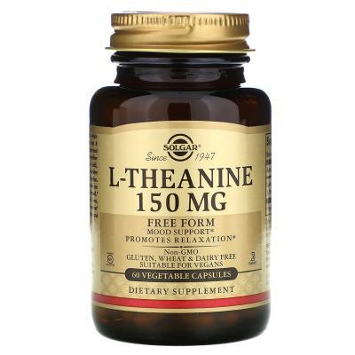 Теанин, свободная форма, L-Theanine, Solgar, 150 мг, 60 капсул