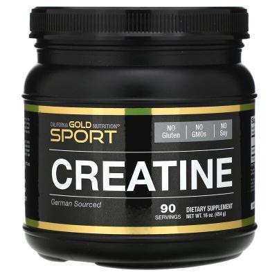 Микронизированный моногидрат креатина, Creatine Powder, California Gold Nutrition, без запаха, 16 унций (454 г)