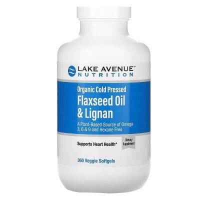 Органическое льняное масло холодного отжима и лигнан, без гексана, Organic Cold Pressed Flaxseed Oil & Lignan, Hexane Free, Lake Avenue Nutrition, 360 растительных мягких таблеток (09/2021)