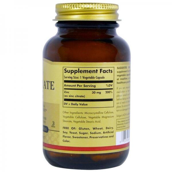 Цитрат цинку, Zinc citrate, Solgar, 30 мг, 100 капсул