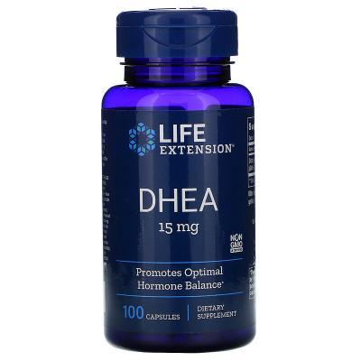ДГЭА (дегидроэпиандростерон), DHEA, Life Extension, 15 мг, 100 капсул