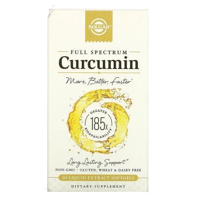 Куркумин, Full Spectrum Curcumin, Solgar, 60 желатиновых капсул с жидким экстрактом