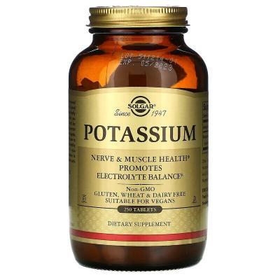 Калий, Potassium, Solgar, 99 мг, 250 таблеток