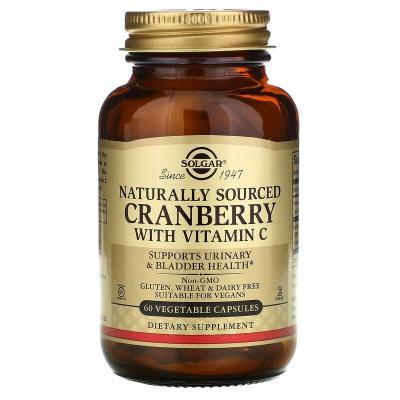 Натуральная клюква с витамином С, Cranberry with Vitamin C, Solgar, 60 растительных капсул