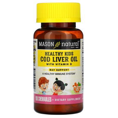 Жир печени трески для детей с витамином D3, вкус апельсина, Cod Liver Oil with Vitamin D3, Mason Natural, 100 жевательных таблеток