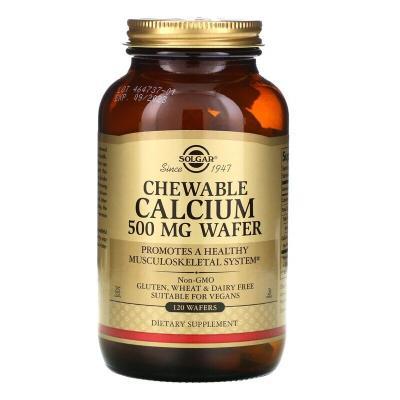 Жевательный кальций, Chewable Calcium, Solgar, 500 мг, 120 вафель