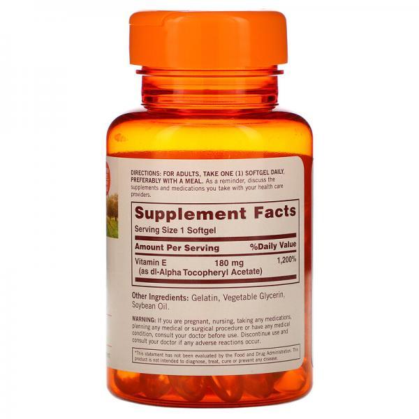 Витамин E, Sundown Naturals, 180 мг (400 МЕ), 100 мягких таблеток