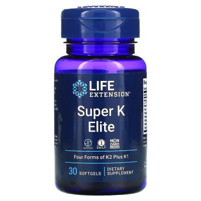 Витамин К, Super K Elite, Life Extension, 30 мягких таблеток