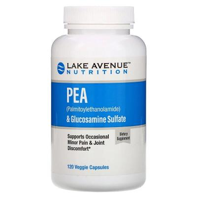 PEA (Palmitoylethanolamide) and Glucosamine Sulfate, Lake Avenue Nutrition, 600 мг/1200 мг, 120 капсул