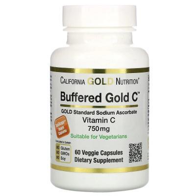 Буферизованный витамин C, Buffered Vitamin C, California Gold Nutrition, 750 мг, 60 растительных капсул