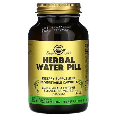 Мочегонное средство, Herbal Water Pill, Solgar, 100 капсул