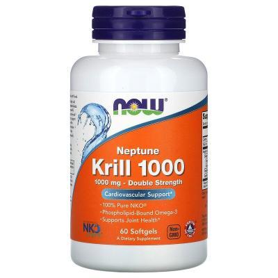 Крилевый жир, двойная эффективность, Neptune Krill 1000, Now Foods, 1000 мг, 60 мягких желатиновых капсул