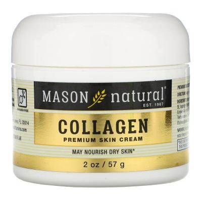 Крем для кожи премиум-класса с коллагеном, с ароматом груши, Collagen Premium Skin Cream, Pear Scented, Mason Natural, 2 унции (57 г)