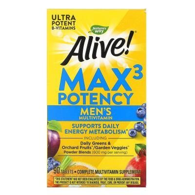 Витамины для мужчин, Alive, Men's Max3 Potency, Nature's Way, 90 таблеток