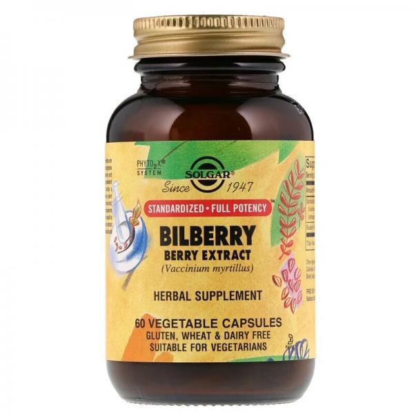 Черника для зрения, Bilberry Berry, Solgar, экстракт, 60 капсул