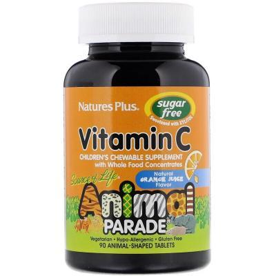 Витамин С, Children's Chewable Vitamin C, Nature's Plus, Animal Parade, апельсиновый вкус без сахара, 90 жевательных конфет