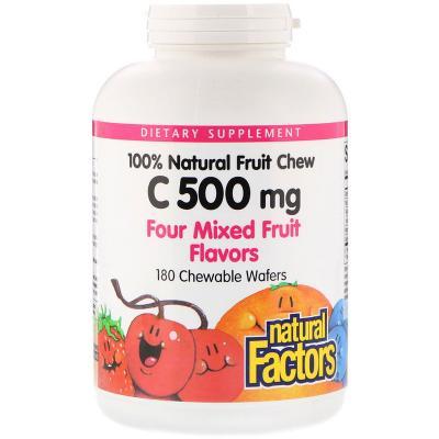 Витамин С, микс фруктов, Natural Factors, 500 мг, 180 жевательных таблеток