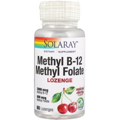 Метилфолат метил B-12 , натуральный вишневый вкус,  Solaray, 60 леденцов