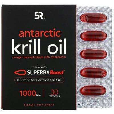 Антарктическое масло криля с астаксантином, Antarctic Krill Oil with Astaxanthin, Sports Research, 1000 мг, 60 гелевых капсул