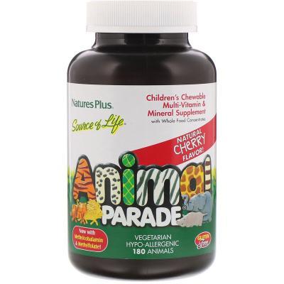 Жевательный комплекс мультивитаминов и минералов для детей с натуральным вкусом вишни, Nature's Plus, 180 животных