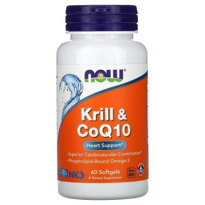 Масло криля с коэнзимом Q10, Krill & CoQ10, Now Foods, 60 капсул