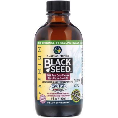 Черное семя, на 100% чистое семя черного тмина холодного отжима, Amazing Herbs, 4 жидк. унций (120 мл)