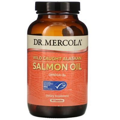 Жир дикого аляскинского лосося, Wild Caught Alaskan Salmon Oil, Dr. Mercola, 1000 мг, 90 капсул