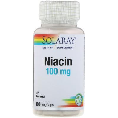 Ниацин, Niacin, Solaray, 100 мг, 100 капсул