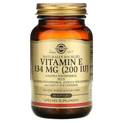 Витамин Е (d-альфа-токоферол), Vitamin E, Solgar, натуральный, 134 мг (200 МЕ), 100 капсул