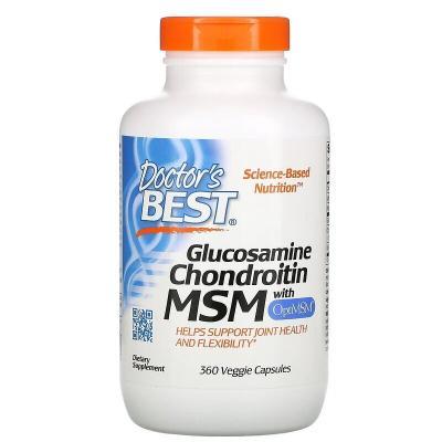 Глюкозамин, Хондроитин, МСМ, OptiMSM, Doctor's Best, 360 капсул