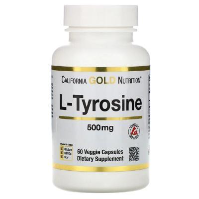 Тирозин, L-тирозин, California Gold Nutrition, 500 мг, 60 капсул
