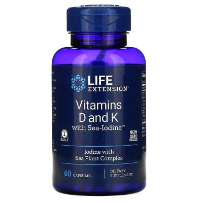 Витамин Д и К с йодом, Vitamins D and K with Sea-Iodine, Life Extension, 60 капсул
