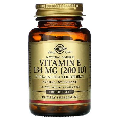 Витамин E, 200 МЕ, Vitamin E 200 IU, Solgar, 100 желатиновых капсул