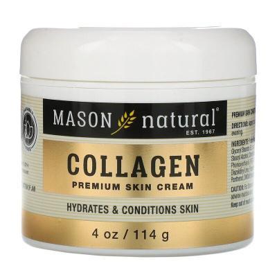 Крем для кожи премиум-класса с коллагеном, с ароматом груши, Collagen Premium Skin Cream, Pear Scented, Mason Natural, 4 унции (114 г)