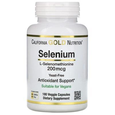Селен без дрожжей, Selenium, California Gold Nutrition, 200 мкг, 180 капсул
