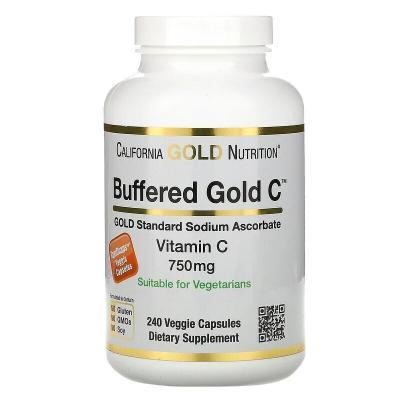 Буферизованный витамин C, Buffered Vitamin C Capsules,  California Gold Nutrition, 750 мг, 240 растительных капсул