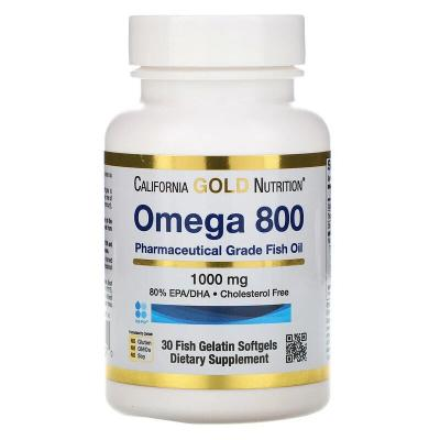 Омега 800 рыбий жир, Omega 800, California Gold Nutrition, 80% EPA/DHA, 1000 мг, 30 капсул