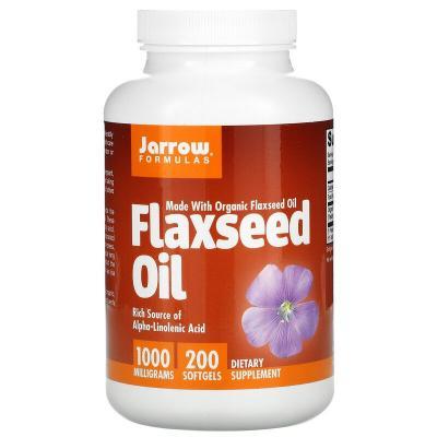 Льняное масло, органик, Flaxseed Oil, Jarrow Formulas, 1000 мг, 200 капсул