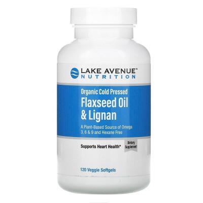 Органическое льняное масло холодного отжима и лигнан, без гексана, Organic Cold Pressed Flaxseed Oil & Lignan, Hexane Free, Lake Avenue Nutrition, 120 растительных мягких таблеток