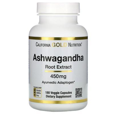 Ашвагандха, Ashwagandha Root Extract, California Gold Nutrition, 450 мг 180 капсул