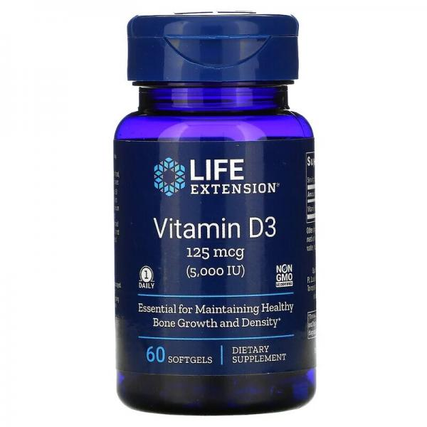Витамин D3, Vitamin D3, Life Extension, 125 мкг (5000 МЕ), 60 гелевых капсул