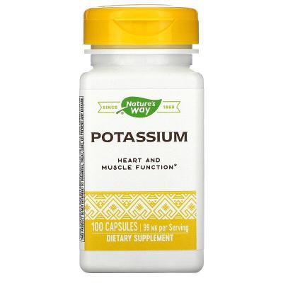Калий, Potassium, Nature's Way, комплекс, 99 мг, 100 капсул