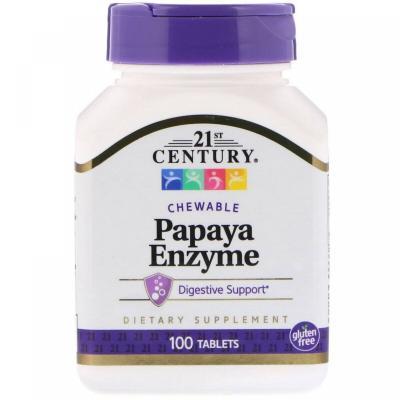Ферменты папайи, 21st Century, 100 жевательных таблеток