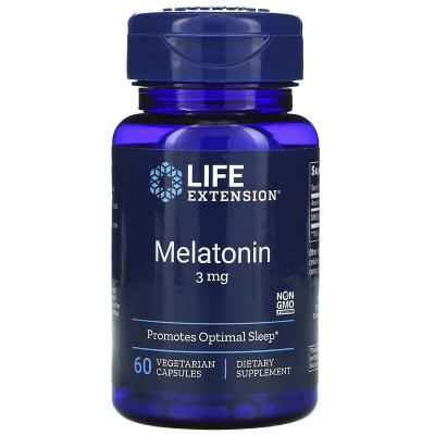 Мелатонин, Melatonin, Life Extension, 3 мг, 60 капсул
