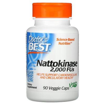 Наттокиназа, Nattokinase, Doctor's Best, 2.000 FUs, 90 капсул