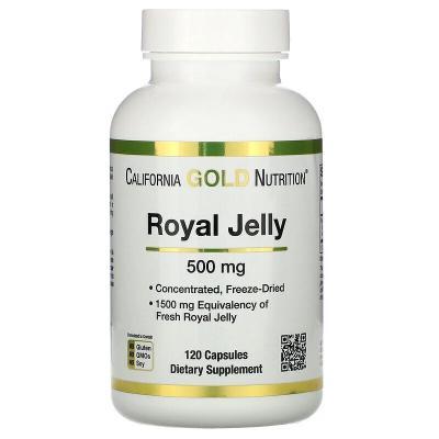 Маточное молочко, концентрированное и сублимированное, Royal Jelly, California Gold Nutrition, 500 мг, 120 вегетарианских капсул