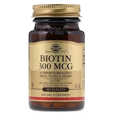 Биотин, Biotin, Solgar, 300 мкг, 100 таблеток