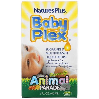 Жидкие мультивитаминные капли без сахара, с натуральным вкусом апельсина, Baby Plex, Nature's Plus, Source of Life, Animal Parade, 60 мл