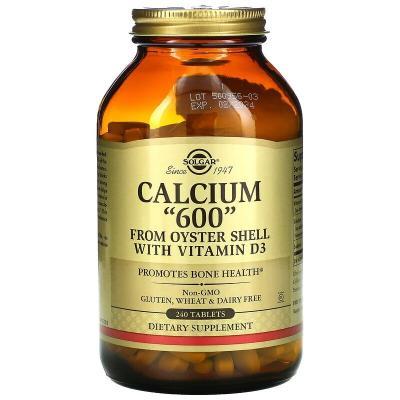 """Кальций """"600"""" из устричных раковин с витамином D3, Solgar, 240 таблеток"""