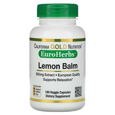 Экстракт мелиссы, европейское качество, Lemon Balm, California Gold Nutrition, EuroHerbs, 500 мг, 180 растительных капсул